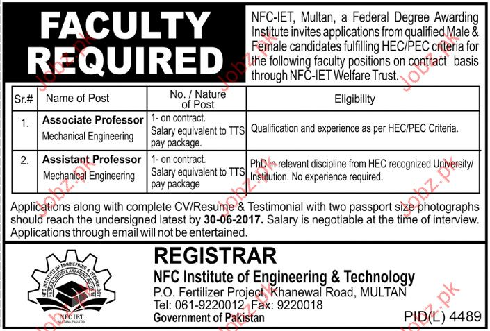 NFC Institute of Engineering and Technology NFCIET Jobs