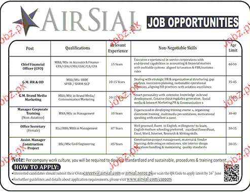 Chief Financial Officers, General Manager HR Job Opportunity