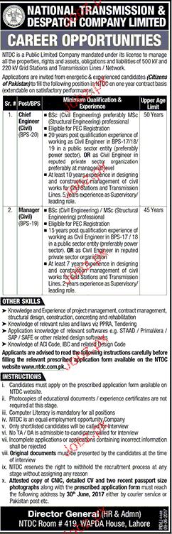 National Transmission & Despatch Company Limited  NTDCL Job