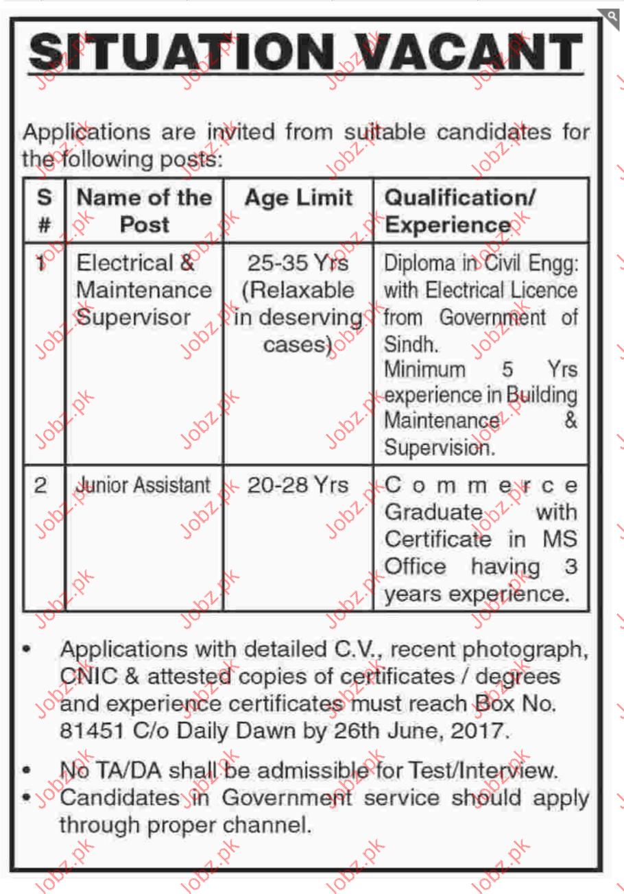 Maintenance Supervisor jobs 2019 Job Advertisement Pakistan
