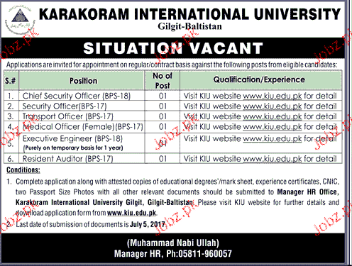 Karakoram International University KIU Management Job