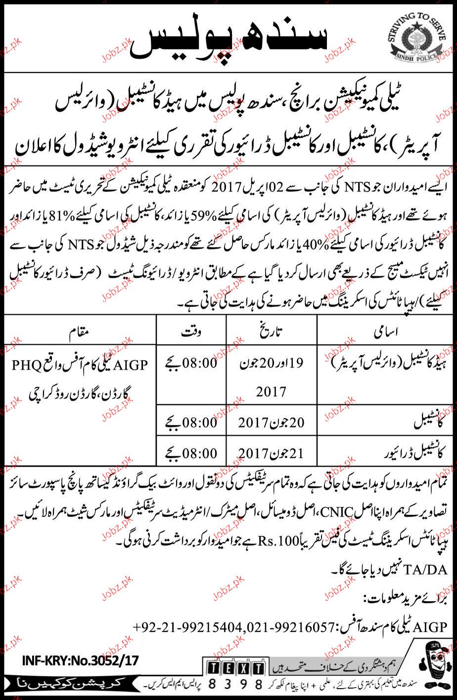 Sindh Police Recruitment of Constable Through NTS