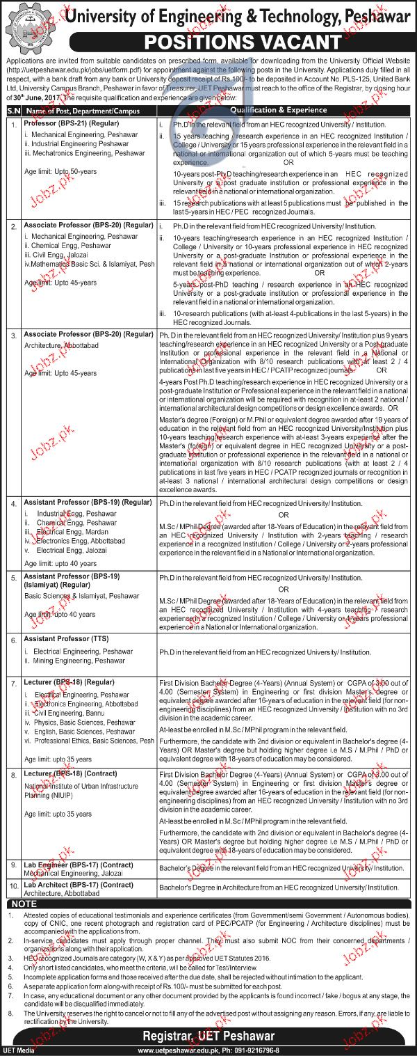 University of Engineering and Technology UET Teaching Jobs
