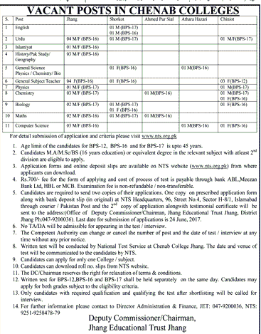 Jahng Educational Trust Chenab College Teaching NTS Jobs