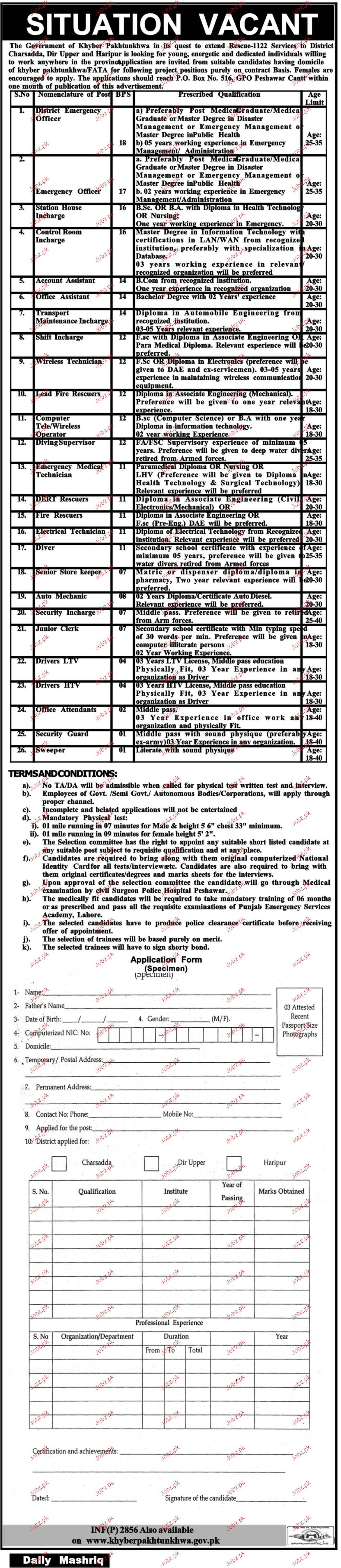 Khyber Pakhtunkhawa Emergency Service Rescue 1122  Jobs Open