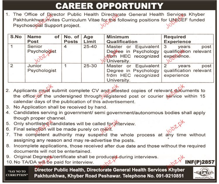 Director General Health Services Career Opportunity