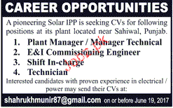 Plant Manager / Manager Technical Job Opportunity