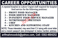 Front Food Managers, Food Service Managers Job Opportunity