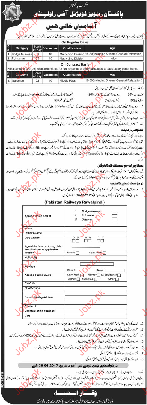 Bridge Muawan Jobs in Pakistan Railways Divisional Office