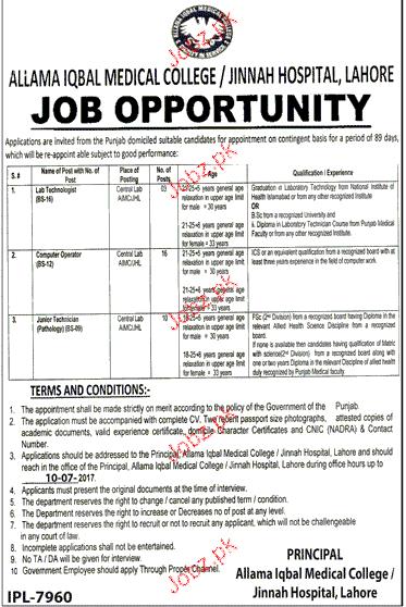 Allama Iqbal Medical College / Jinnah Hospital Job 2017