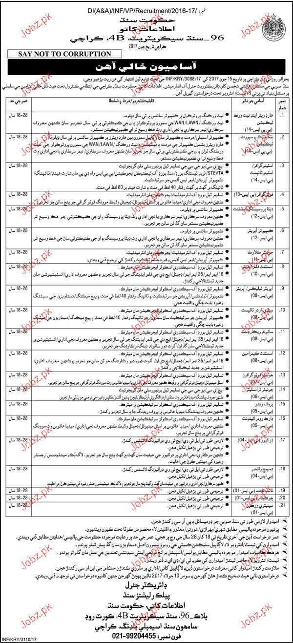 Information and Broadcasting Department Govt of Sind Jobs