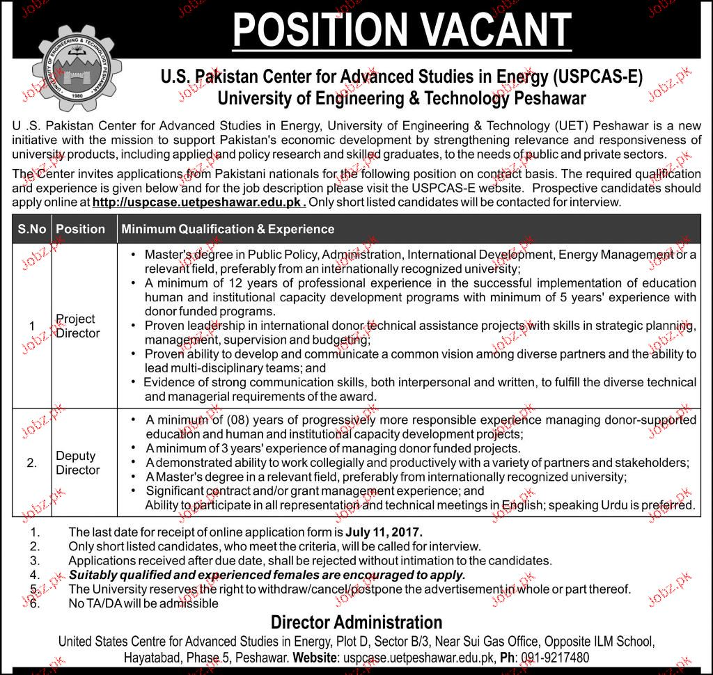 University of Engineering and Technology UET Jobs 2017