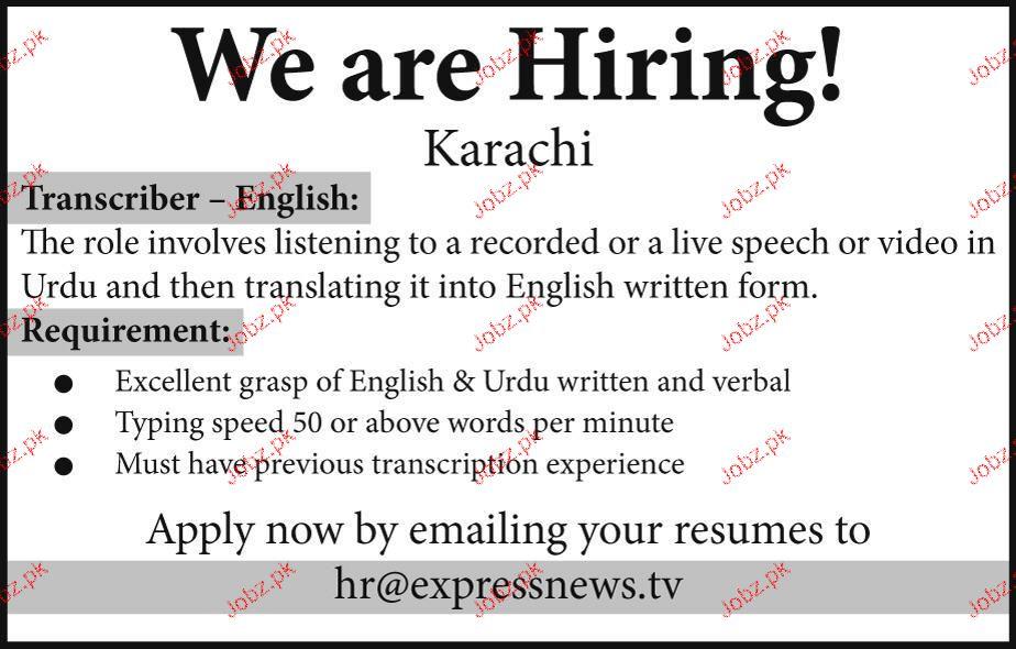 Transcriber English Job Opportunity