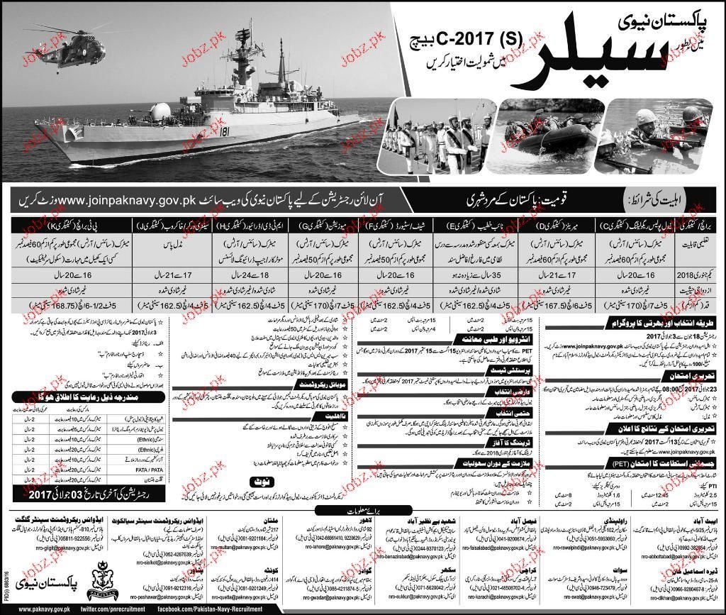 Pakistan Nay Recruitment of Sailors Batch C-2017