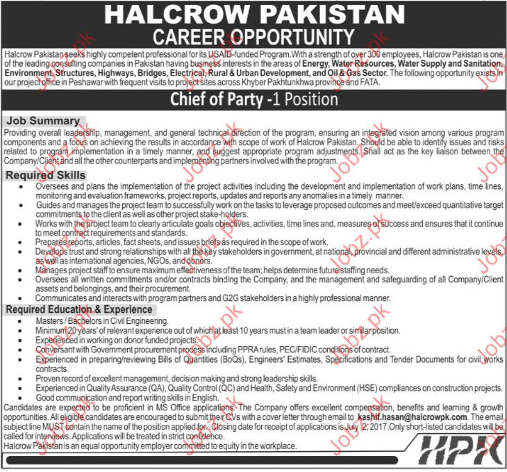 Chief Of Party Jobs In Halcrow Pakistan