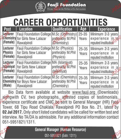 Teaching Jobs in Fauji  Foundation Colleges