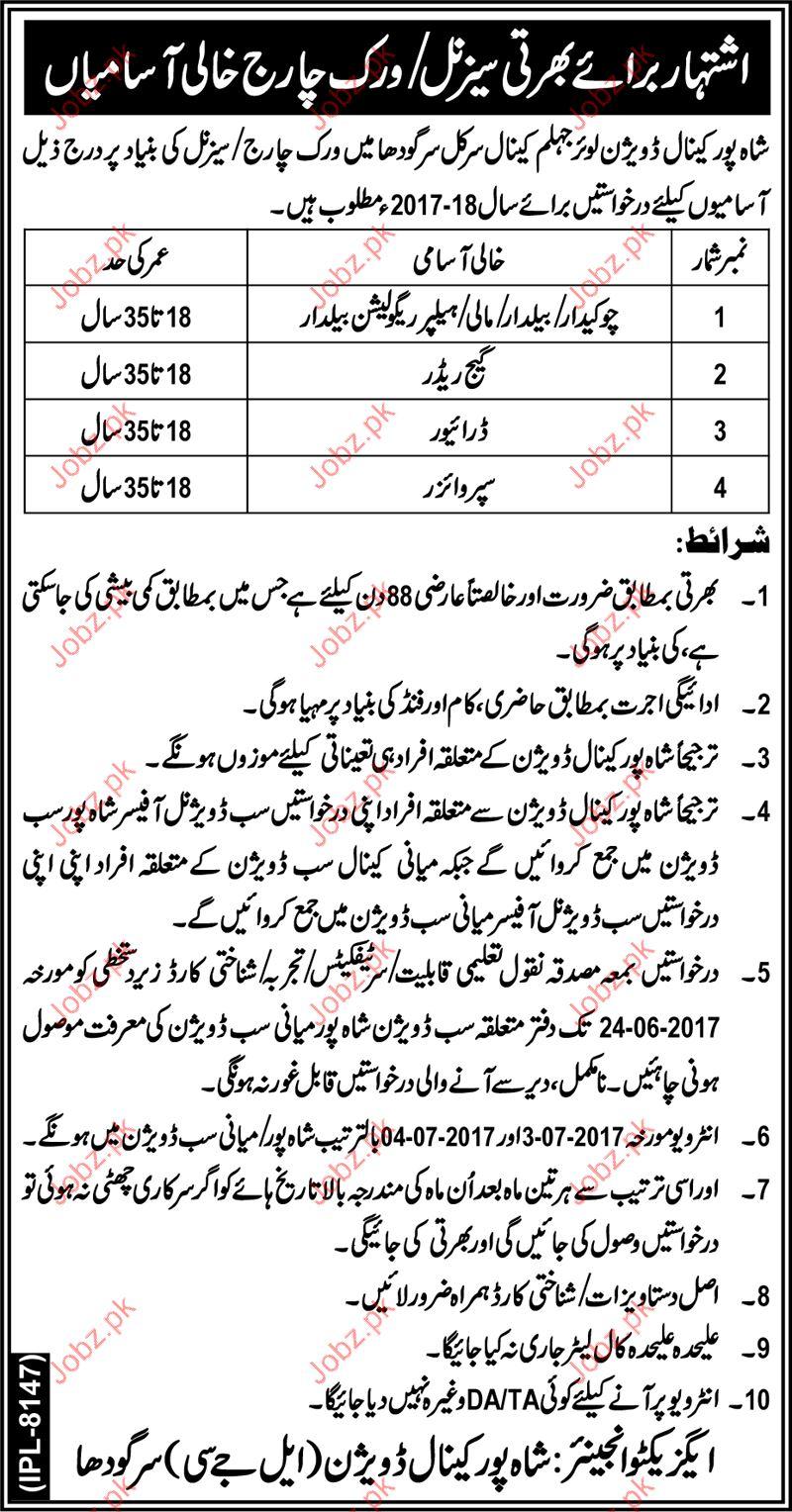 Shah Pur Canal Division Lower Jhelum SPCDLJ Jobs