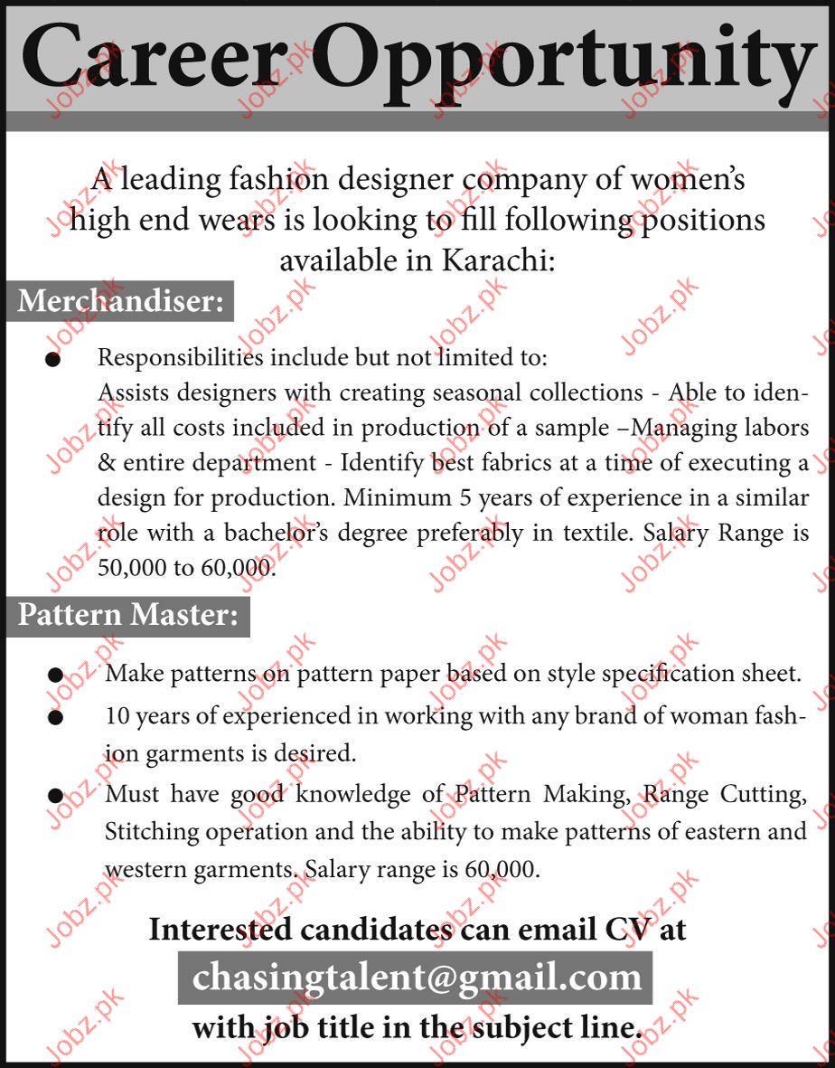 Fashion Designer Company Required Merchandiser