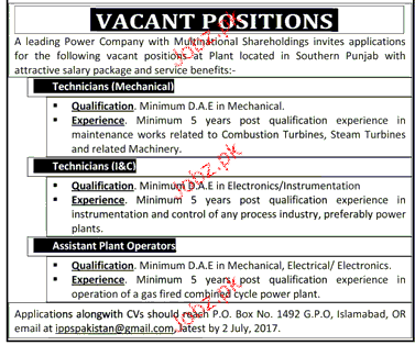 Technicians Mechanical, Technicians II & C Job Opportunity