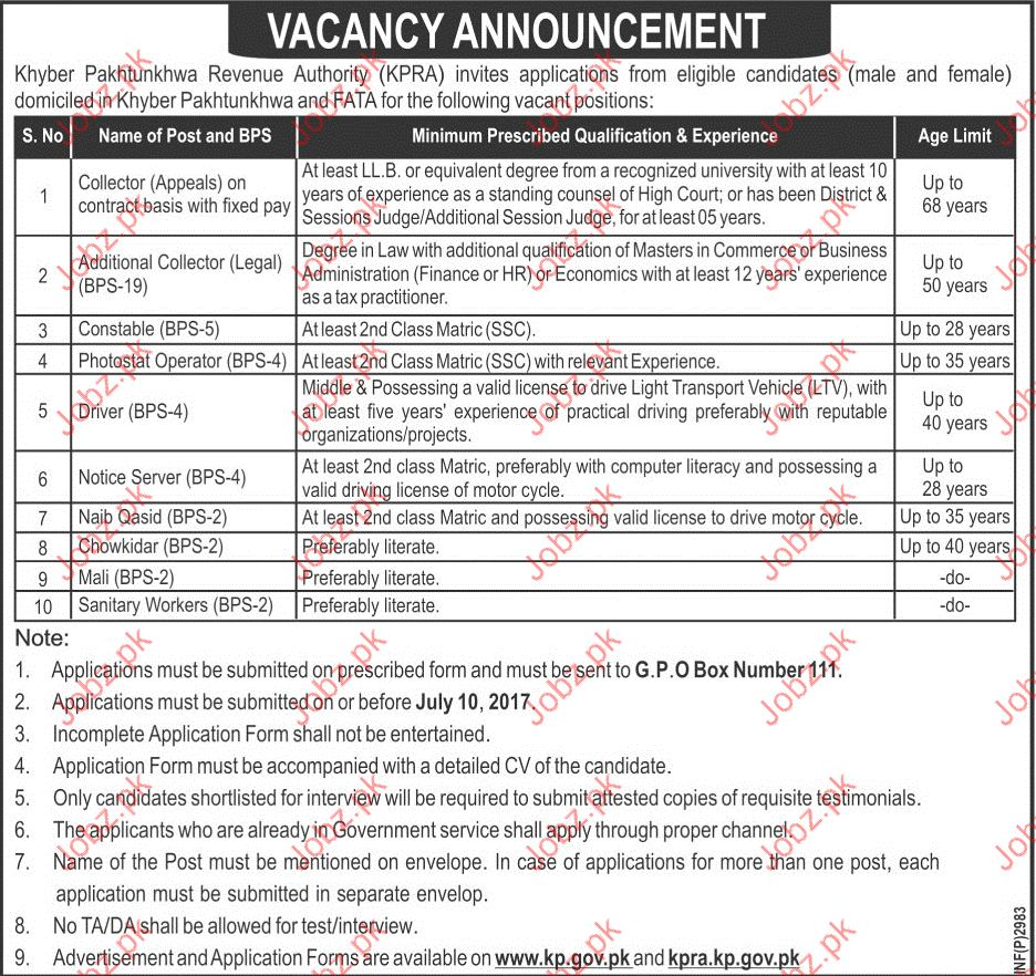 Collector Jobs in Khyber Pakhtunkhwa Revenue Authority