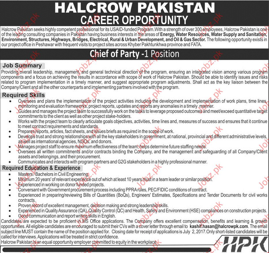 Halcrow Pakistan Required Chief Of Party Staff