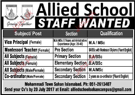 Allied School Staff Wanted