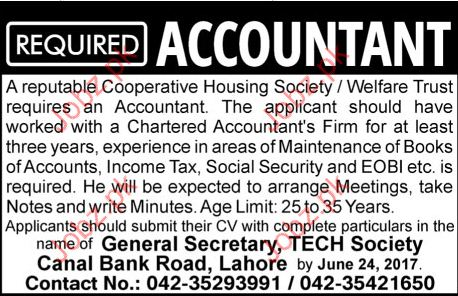 Accountant Required Cooperative Housing Society