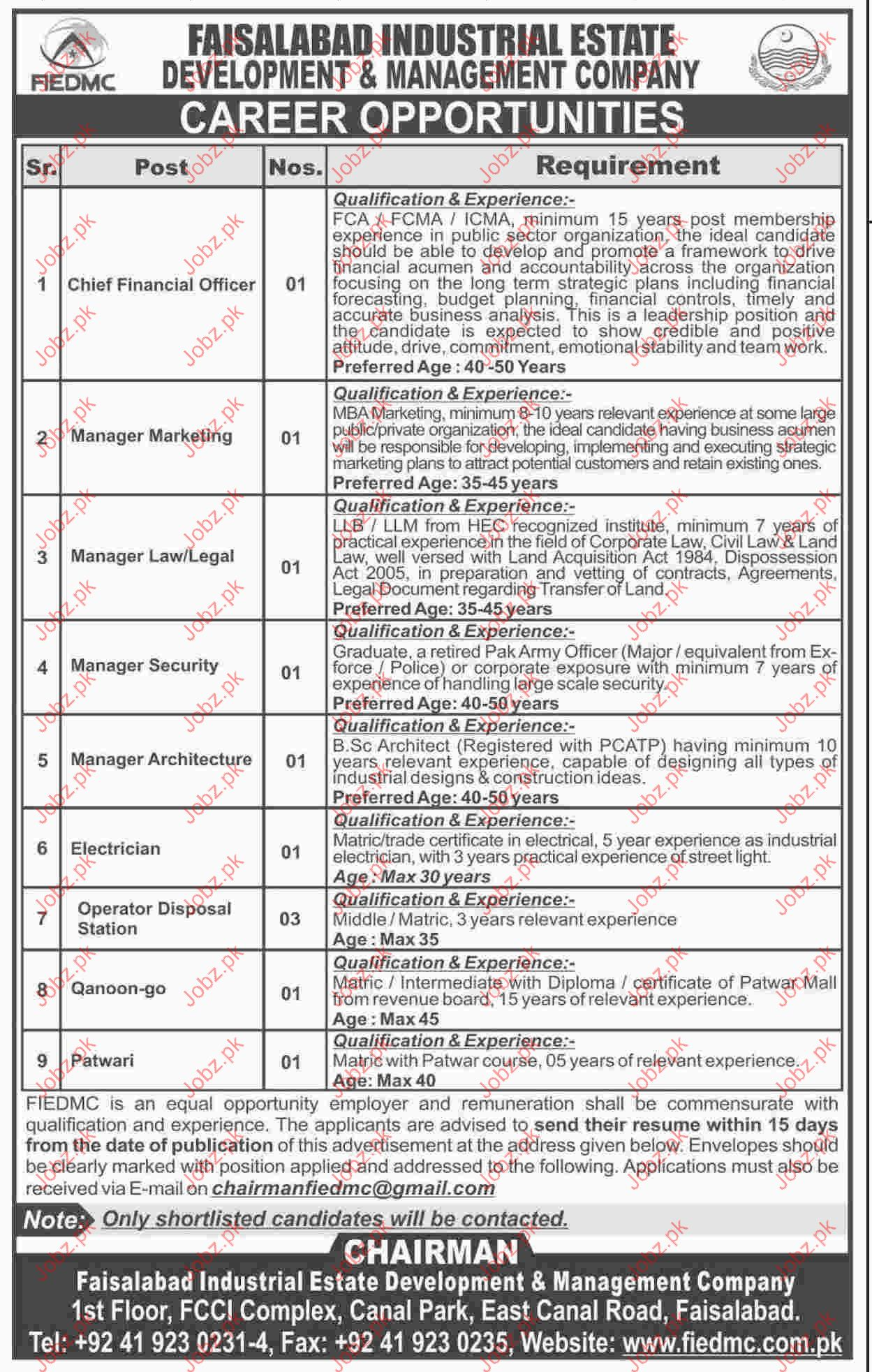 Faisalabad Industerial Estate Development & Management Jobs