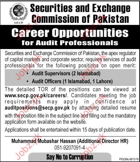 Securities & Exchange Commission Of Pakistan jobs 2017