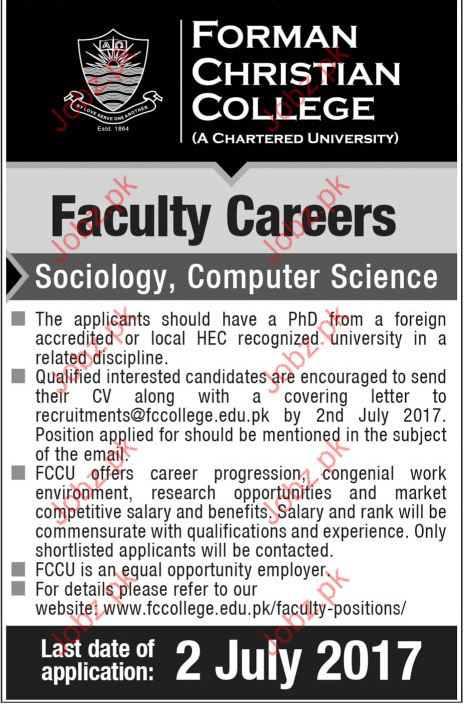 Teacher jobs in Forman Christian College