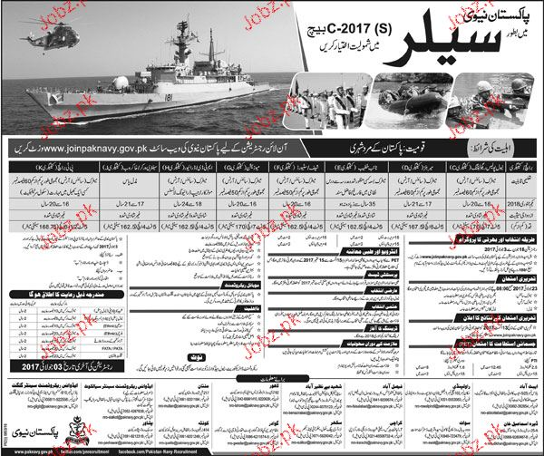 Pakistan Navy Recruitment of Sailors