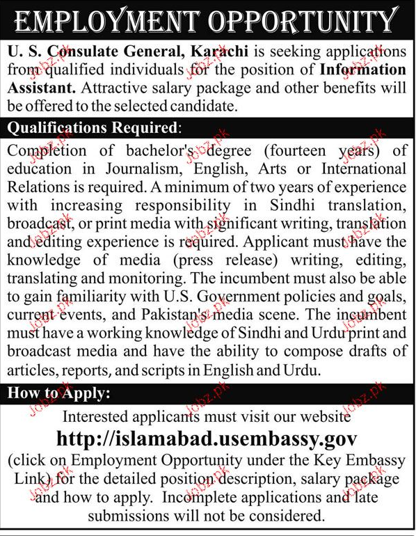 Information Assistants Job  in US Consulate General