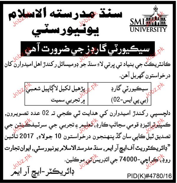 Sindh Madressatul Islam University Jobs