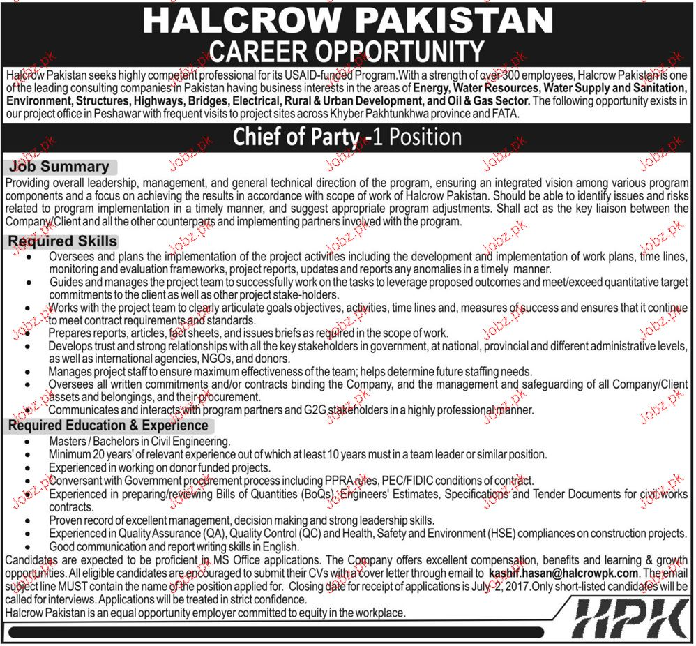 Chief of Party Job Opportunity
