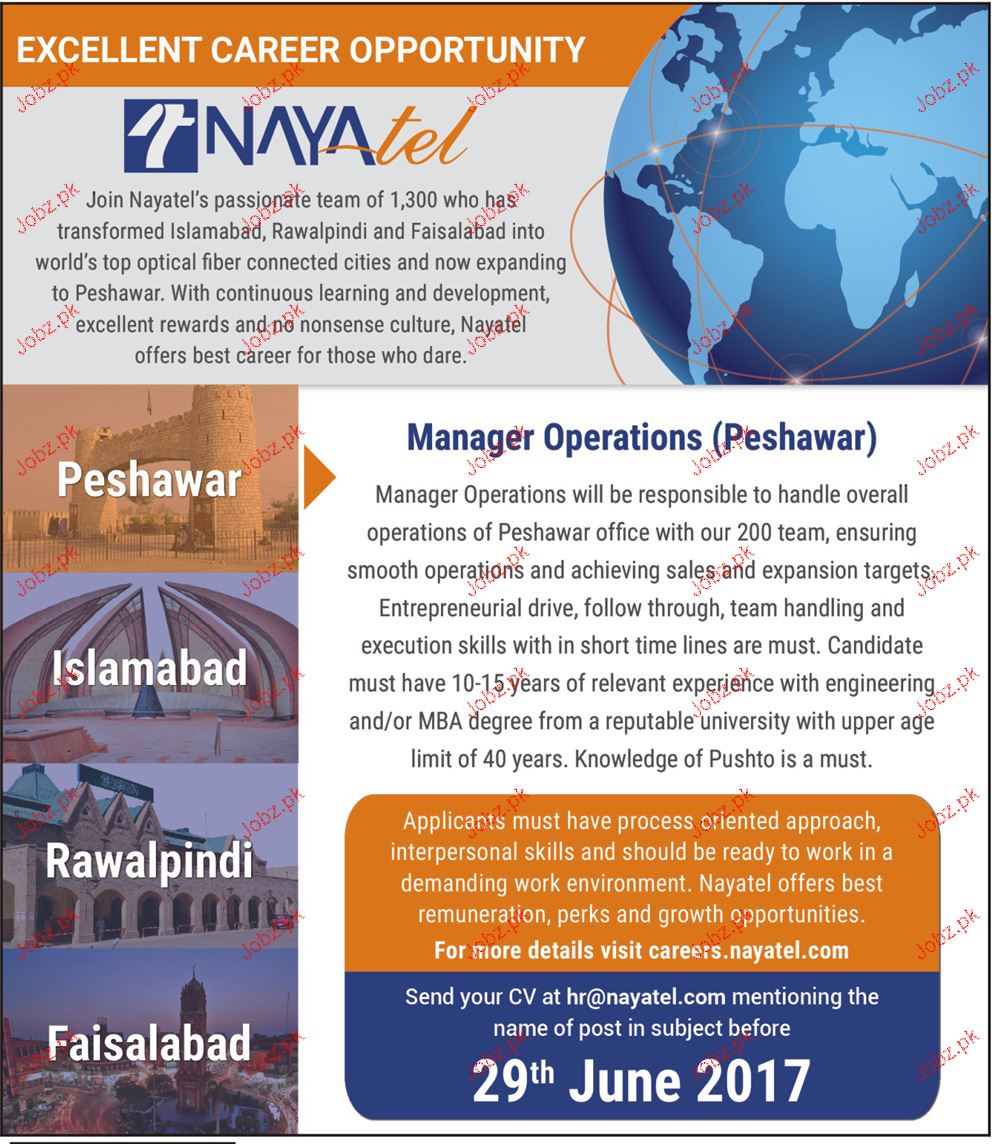 Manager Operations Job Opportunity