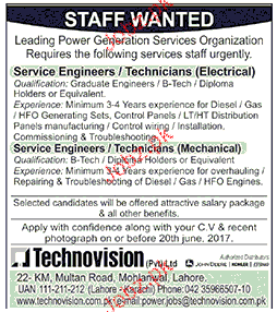 Senior Engineers / Technicians Electrical Job Opportunity