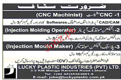 CNC Machinists, Injection Molding Operators Job Opportunity
