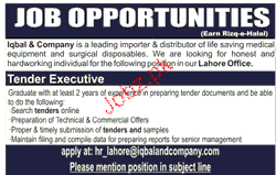 Tender Executives Job Opportunity