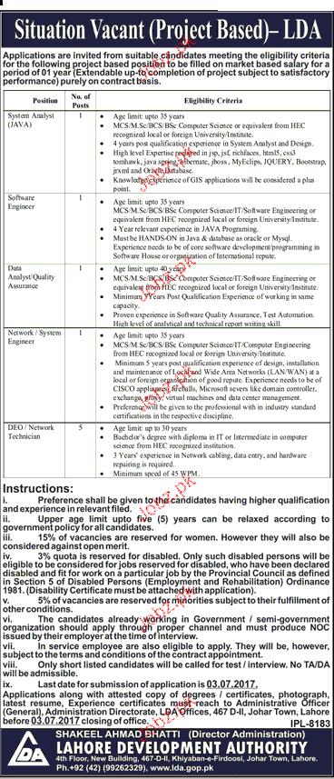 Lahore Development Authority LDA Career Opportunity