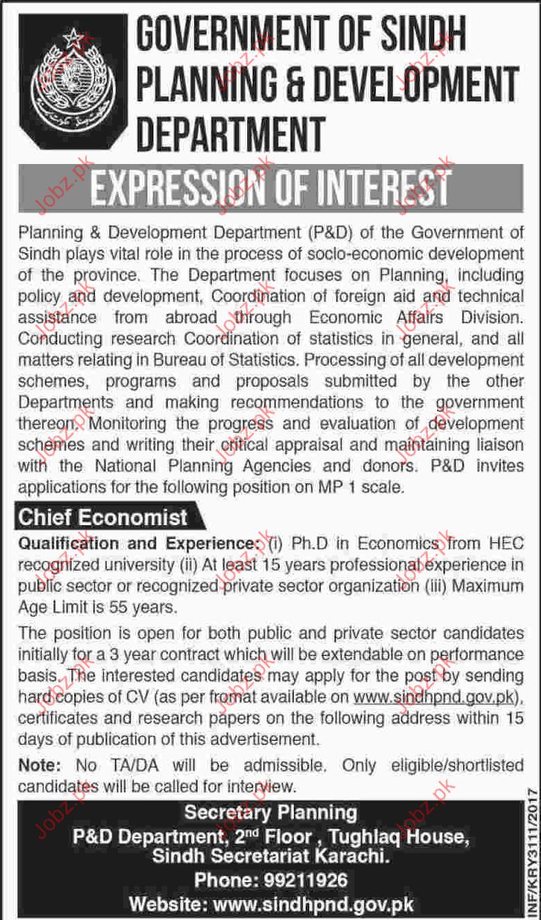 Planning and Development Department Sindh PDDS Jobs