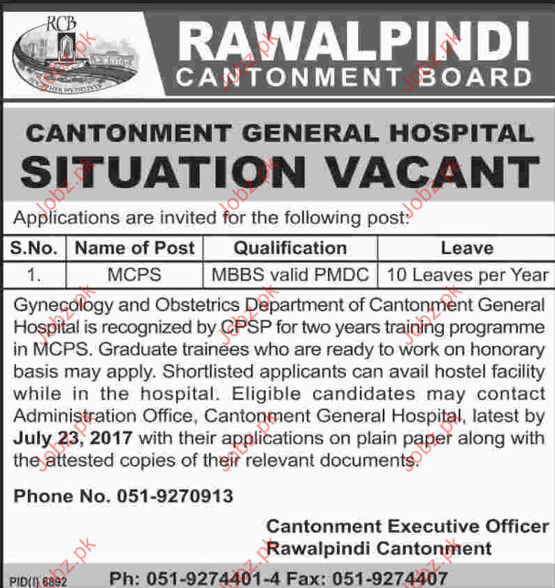 Rawalpindi Cantonment Board RCB Job Opportunities