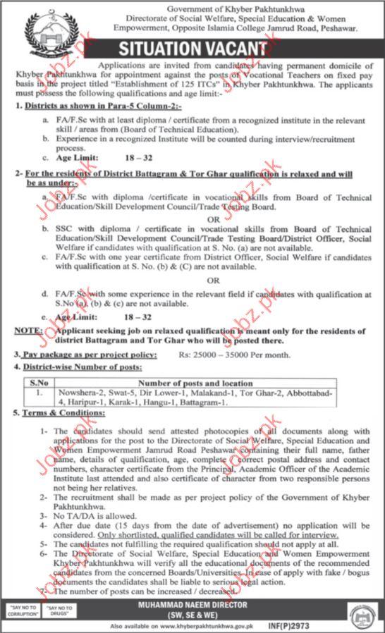 Directorate of Social Welfare, Special Education & Women Job