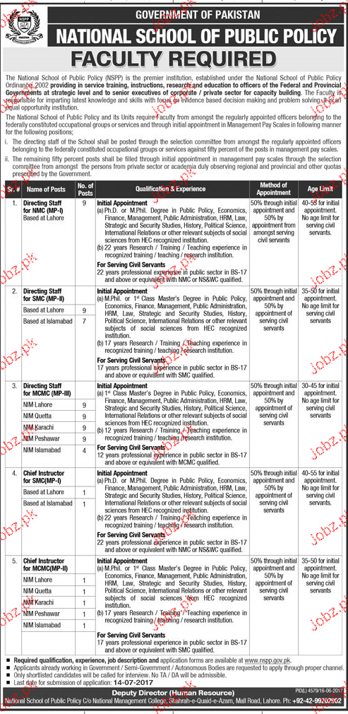 National School of Public Policy  Jobs 2017