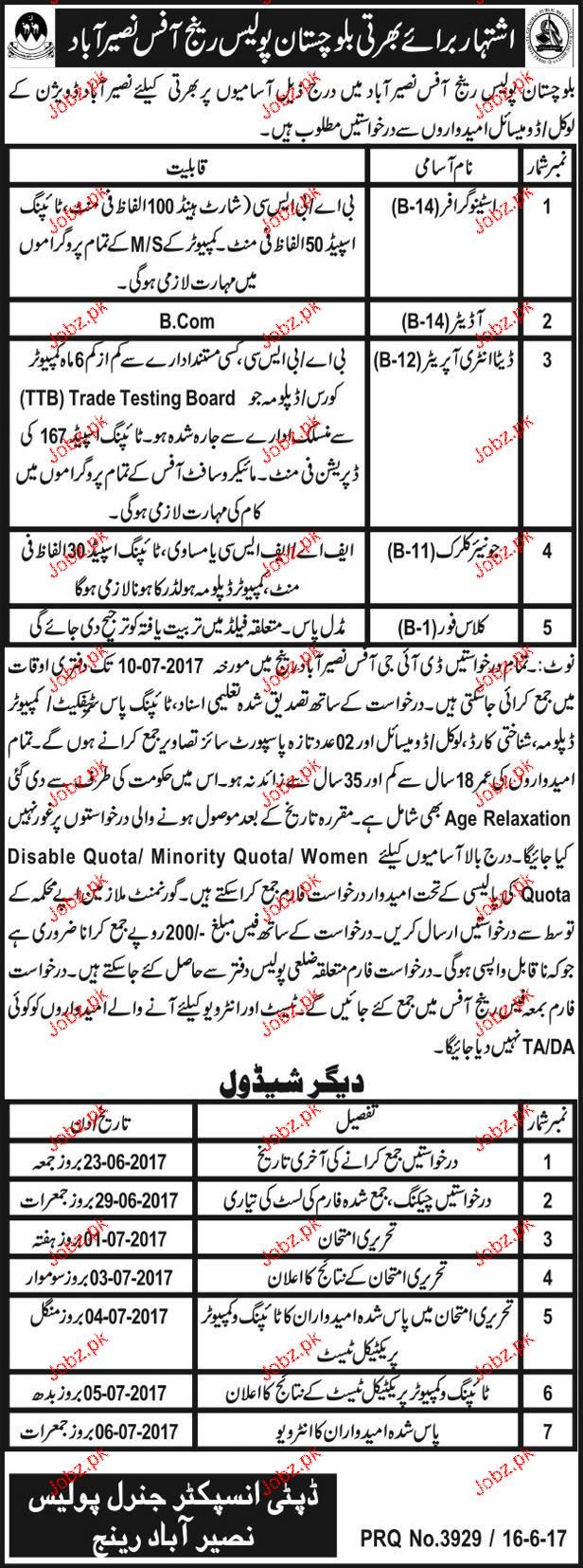 Balochistan Police Clerical Jobs