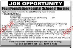 Fauji Foundation Hospital School of Nursing Job Open