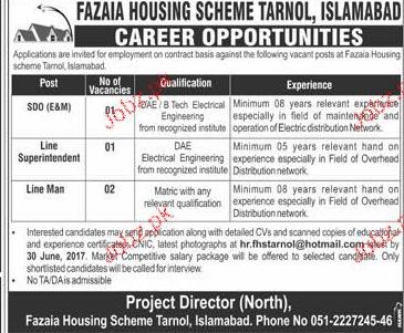 Fazaia Housing Scheme Tarnol Islamabad Jobs Open