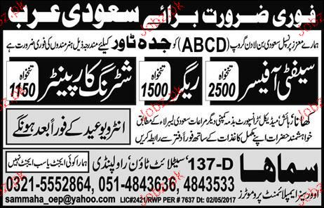 Safety Officers, Shuttering Carpenters Job Opportunity