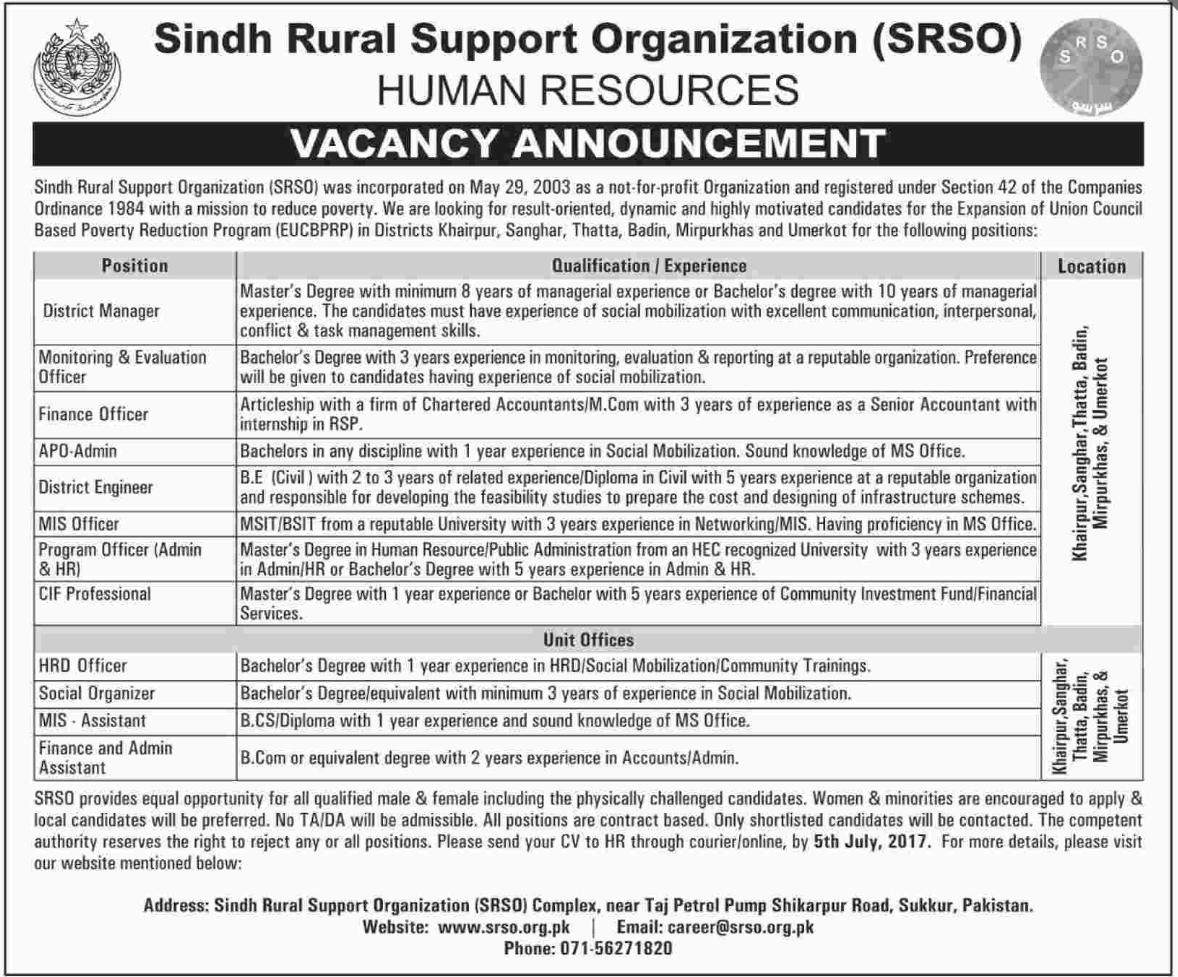 Sindh Rural Support Organization SRSO Jobs 2017