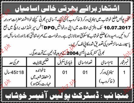 Police Department District Khushab Job Open