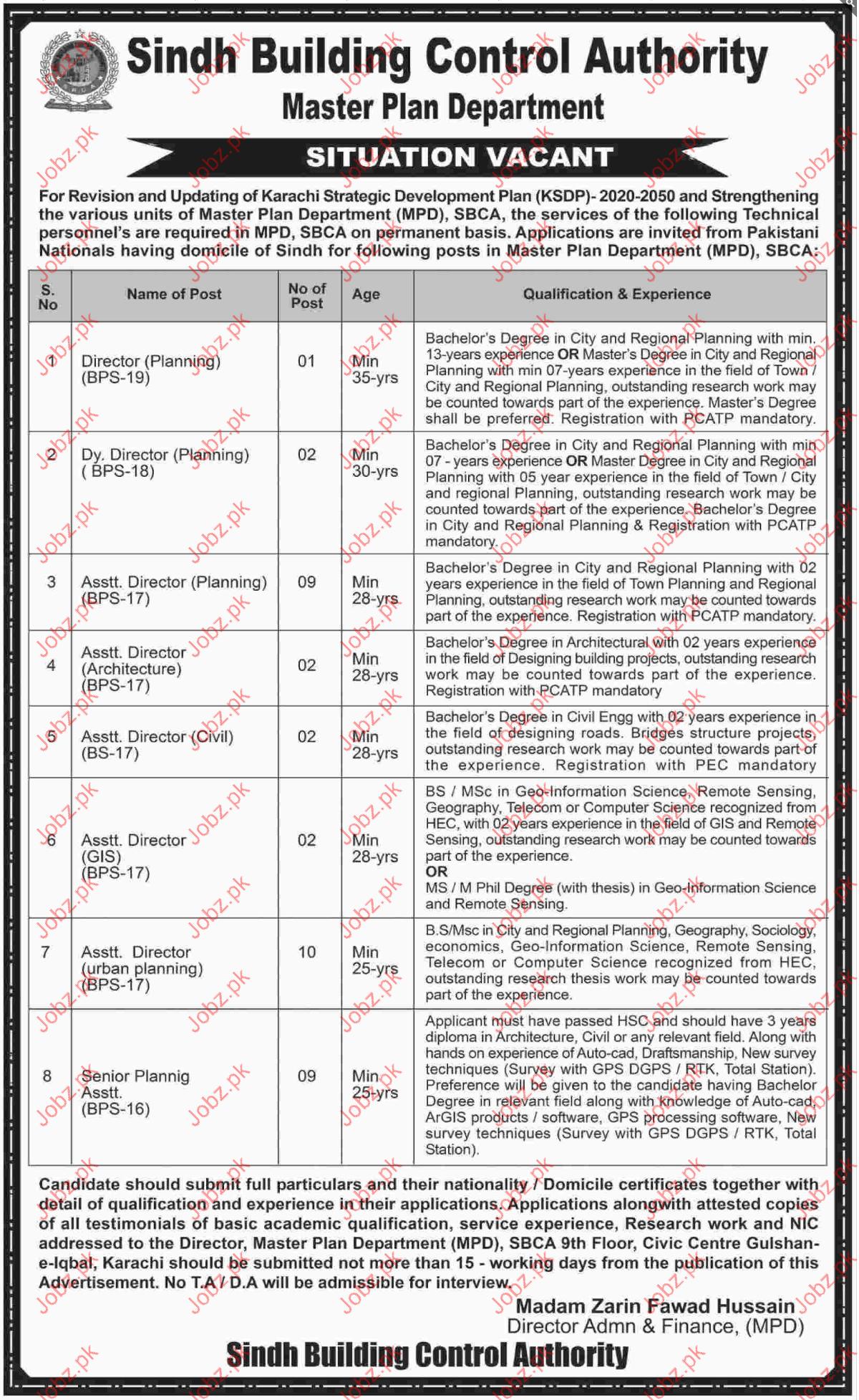 sindh building control authority sbca jobs 2019 job